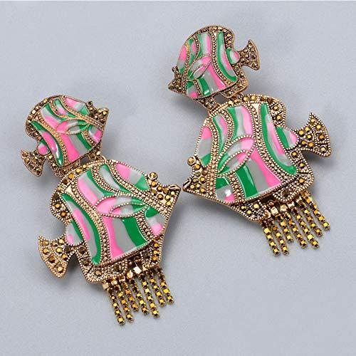 Vvff Pendientes Grandes Coloridos Para Mujer, Pendientes De Gota De Metal Con Forma De Pez, Accesorios De Joyería Con Cristales Colgantes