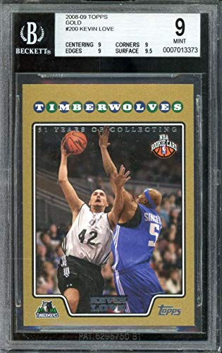 Kevin Love Rookie Card 2008-09 Topps Gold Border #200 BGS 9 (9 9 9 9.5)