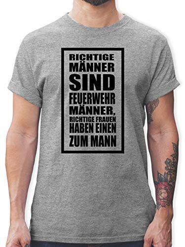 Feuerwehr - Richtige Männer Feuerwehr - L - Grau meliert - taschenmesser Feuerwehr - L190 - Tshirt Herren und Männer T-Shirts