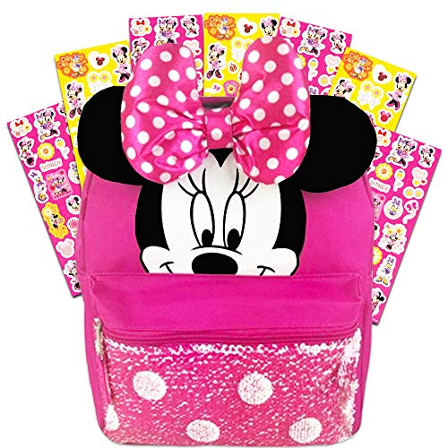 Disney Minnie Mouse Backpack for Girls Toddlers Kids ~ Bundle Includes 12' Minnie Preschool Toddler Backpack with Ears, Bow and Magic Reversible Sequins and Stickers (Minnie Mouse School Supplies)
