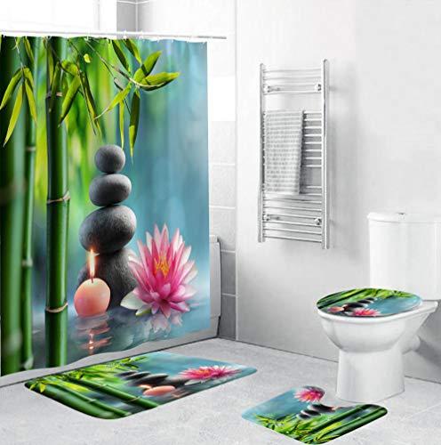 EZEZWSNBB 4 Pcs Ensemble Rideau de Douche Salle de Bain Bambou Vert et Zen Rideau de Douche + Tapis Contour WC +Tapis de Bain Antidérapant+ Couvre Couverture de Toilette Siège