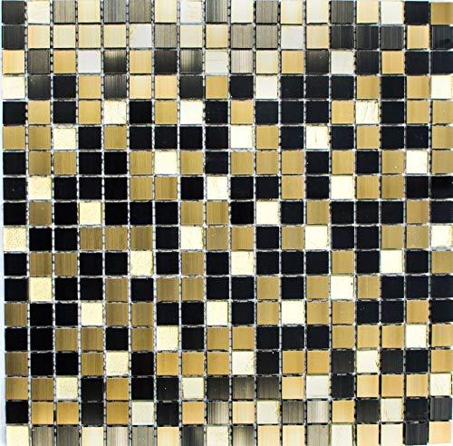 Mozaïektegel aluminium glasmozaïek kristal zwart brons goud voor muur badkamer douche keuken tegelspiegel THEKENVERkledING badkuipbekleding mozaïekmat mozaïekplaat | 10 mozaïekmatten