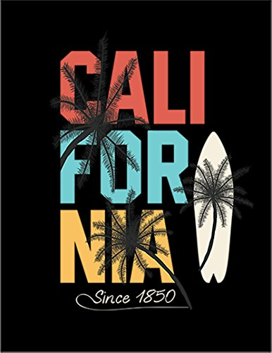 【カリフォルニア サーフィン ヤシの木】 ポストカード・はがき(黒背景)