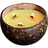 Scented Candles in Coconut Shell - Wooden Wick Candle for Home Scented - Soy Candles - Aromatherapy Candle Eco Friendly (Lemongrass)