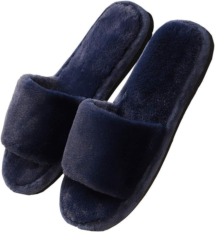 Woman Open Toe Cotton Plush Slippers Winter Plush Durable Memory Foam Cozy Soft Indoor Slipper Washable