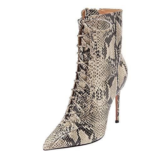 Damen Schlangenleder Schnürstiefeletten Spitzer Zehen High Heels Schuhe Frühling Herbst Serpentine Stiefel Sexy High Heels Mode Stiefeletten Fersen Casual Frauen Schuhe,Grau,US13/EU43/UK10