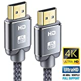 Câble HDMI 4K 0.9m - Snowkids Câble HDMI 2.0 High Speed par Ethernet en Nylon Tressé Supporte 3D/ Retour Audio - Cordon HDMI...