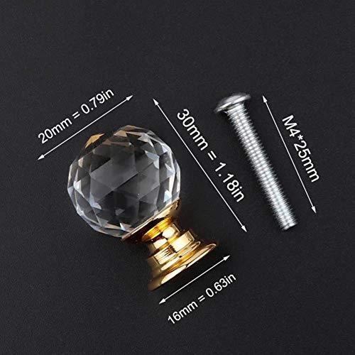 Brand Design 20-40mm Crystal Glass Knobs Handles Dresser Lade Keukenkast Pull Kast Handvat, 20mm kristallen bol