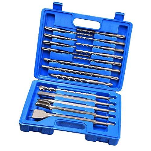 Fivesix Albañilería Drill bit Set de Martillo del cincel de Rotary Ronda Mango del Destornillador para hormigón y ladrillo con el Azul del Caso del almacenaje 17pcs, aparatos industriales