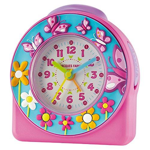 JACQUES FAREL ACW 69 – Reloj despertador para niña, 3D, mariposas, flores, rosa, turquesa, sin tic tac, analógico, repetición de alarma, cuarzo