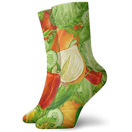 Gemüsekohl Pfeffer Zwiebel Gurke Unisex Socken Gedruckt Weiche Socken All-Seasons Crew Socken Kurze Socken