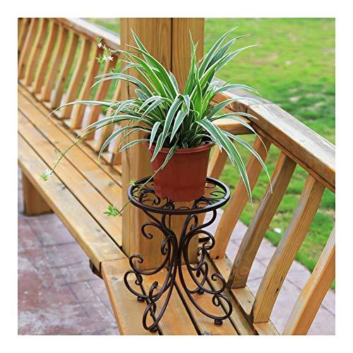 JCCOZ - Soporte de flores URG, soporte de hierro forjado, soporte decorativo para balcón (negro/24 cm x 25 cm x 34 cm) URG