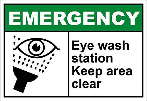 TammieLove Home Decor Teken Eye Wash Station Keep Area Clear Emergency Metalen Plaque voor Outdoor Indoor Gebruik Yard Hek Teken Metalen Teken 8x12 inches