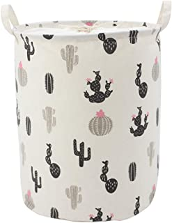 Homele Cute Cactus Collapsible Laundry Basket Hamper with Drawstring Cover, Cotton Foldable Toy Storage Bin Storage Basket Organizer for Kids Baby Room, College Dorm, Nursery, Closet, Bedroom (Black)