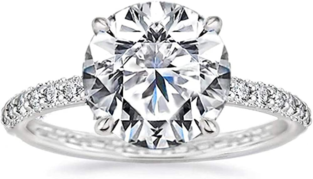 Samie Collection 4.3 Carat Round Brilliant Simulated Diamond Solitaire Engagement Ring for Women Micro-Pave Wedding Band Ring, White Gold Finish, Size 5-10