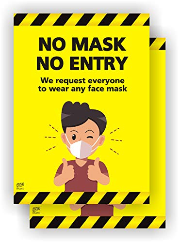 EppoBrand - 2X No Mask No Entry Sticker - Request to Wear Any Face Mask Safety Window Door Sign 5' x 7' Notice Warning for Front Store Apartment Entrance Business Coronavirus Covid-19 Restrictions