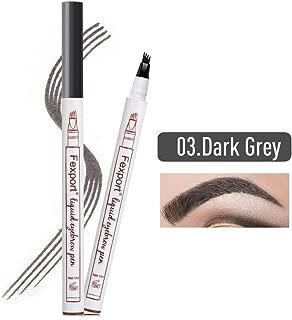 Tattoo Eyebrow Pen con cuatro puntas duraderas Pencil puntas de tenedor Impermeable y duradero Lápiz de cejas Ink Sketch Eyebrow para Maquillaje (03# gris oscuro)