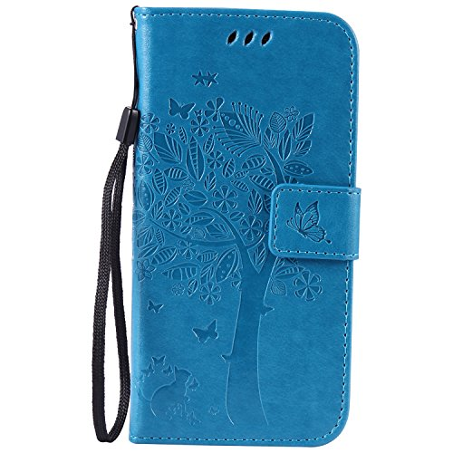 Lomogo Galaxy S7 / G930 Hülle Leder, Schutzhülle Brieftasche mit Kartenfach Klappbar Magnetverschluss Stoßfest Handyhülle Case für Samsung Galaxy S7 - EKATU23433 Blau