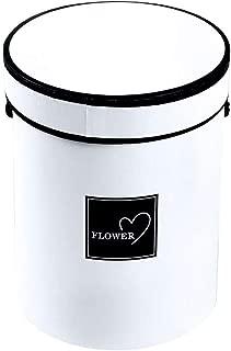 Bluelans Florist Bouquet Box, Cylindrical Packaging Flower Paper Box with Lid, Luxury Elegant Gift Box with Lid, Round Gift Box, Wedding Decor, Floral Arrangement Accessories, Flower Box White
