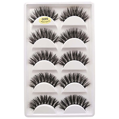5 Paires Faux Cils Natural Look Extension Cils Handmade Naturelles 3D Faux cils
