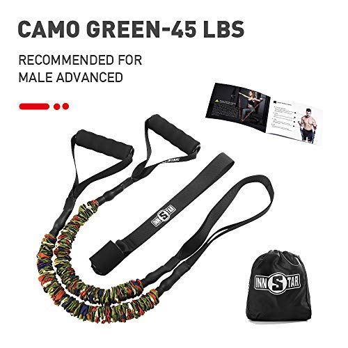Single Resistance Band Exercise Tube with Handle, Door Anchor and Carrying Bag for Fitness Training, Physical Therapy, Home Workouts,Yoga,Gym (Camo Green-45LBS)