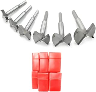 Meich Forstner Drill Bits Set 30-60mm 6PCS, Flat Wing Drilling Hole Hinge Cemented Carbide Carbon High Speed Steel Woodworking Drill Punching Bit with Round Shank DC02A