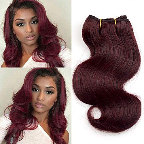 Extensiones de cabello virgen malasio, 4 unidades, color borgoña, 8 pulgadas, cabello rizado 99j
