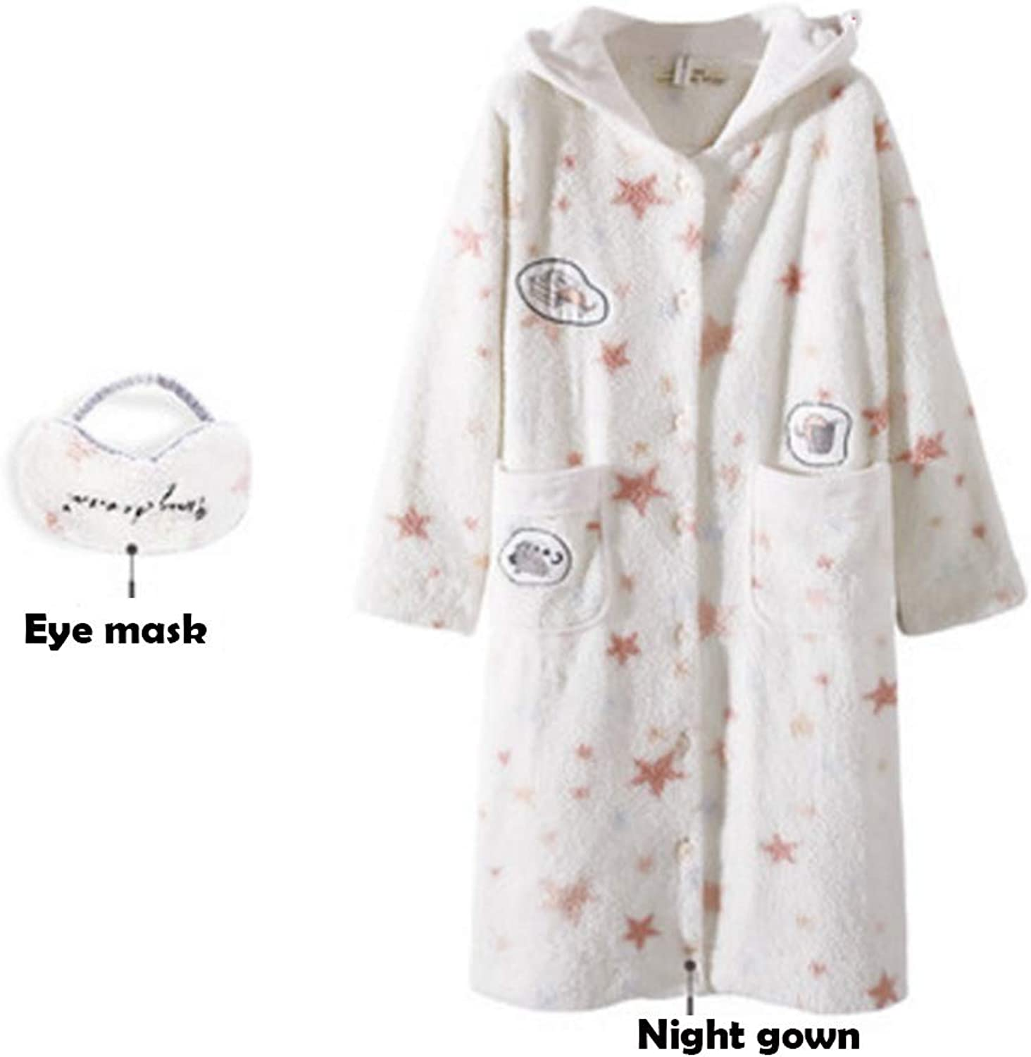 NAN Liang 100% Cotton Nightgown Female Autumn and Winter Thickening Cartoon Plus Long Hooded Home Service  Send Eye mask Soft (Size   XL)