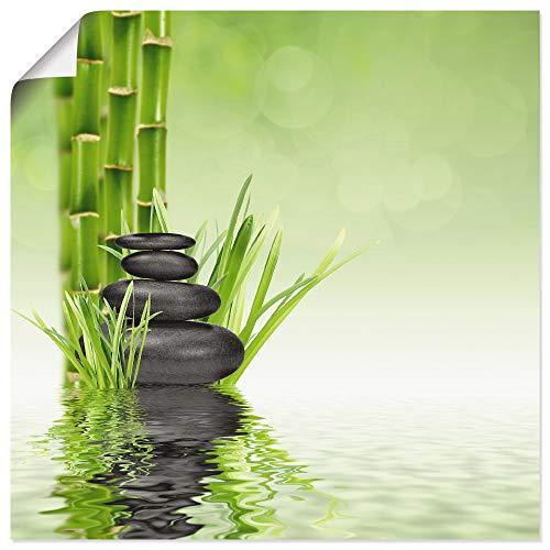 Artland Poster Kunstdruck Wandposter Bild ohne Rahmen 50x50 cm Wellness Spa Wasser Fotografie Grün Spa Steine R2PR