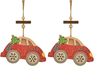 2Pcs Hollow Wooden Luminous Pendants Christmas Tree Pendants Christmas Car Ornaments Christmas Decorations
