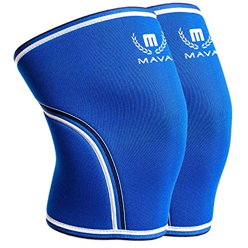 Mava Sports Knee Compression Sleeve Support for Men and Women with Perfect 7mm Neoprene Material for Powerlifting, Weightlifting, Body Building, Gym Workout, WOD and Squats (Blue, Medium)