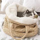 Bolsa De Playa para Mujeres Bolsa De Viaje De Paja para Perro Pequeño Gato, con Correa De Asa para La Playa, Vacaciones, Compras, Viajes (Color : Beige, Size : 34X34cm)