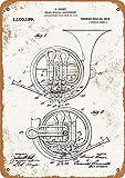 Cartel de metal – 1914 patente de cuerno francés de latón – Letrero de aspecto vintage de lata de 30,5 x 20,3 cm para decoración de pared del hogar