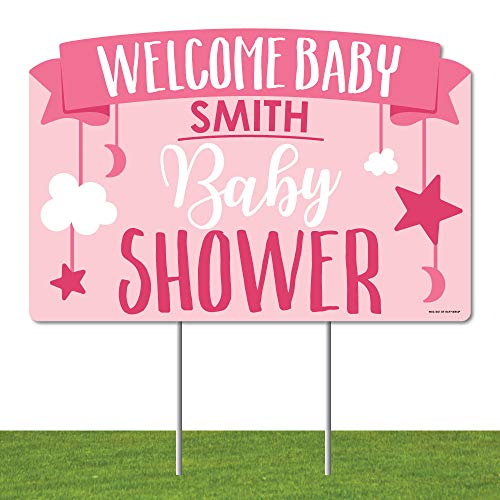 Big Dot of Happiness Personalized It's a Girl - Pink Baby Shower Yard Sign Lawn Decorations - Welcome Baby Custom Name Party Yardy Sign