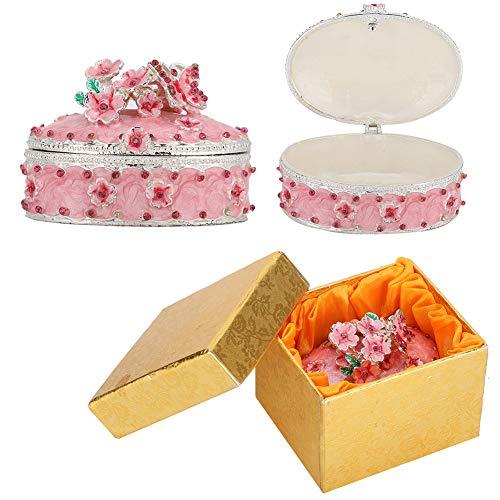 Garosa Joyero esmaltado, Caja de baratijas de Flores de Cerezo, Exquisito Organizador de Joyas práctico con Caja de Regalo