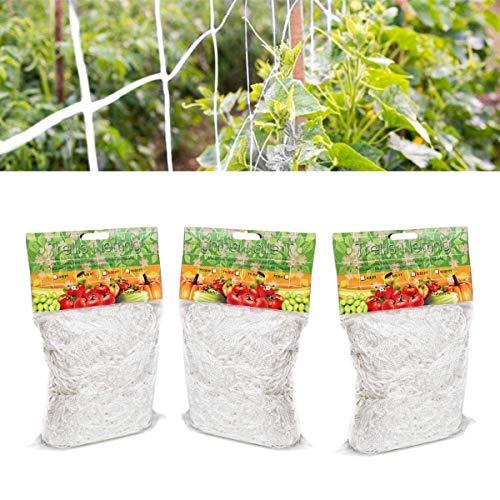 CHENKEE Malla para Plantas Trepadoras, 3 Paquetes Red de Jardín Malla de Apoyo para Escalada Red para Pájaros Resistente de Poliéster para Escalada Plantas y Valla de Cultivo