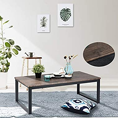 Aingoo Rustic Coffee Table Large Sofa Table Mid-Century Rectangle with Metal Frame Dark Brown Wooden Grain CT-01