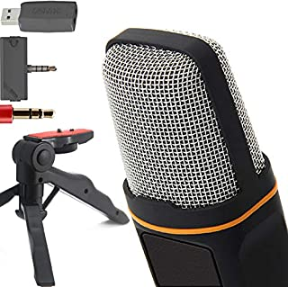 """ZaxSound SF666PRO Professional Cardioid Condenser Microphone and Tripod Stand for PC, Laptop, iPhone, iPad, Android Phones, Tablets, xBox and YouTube Recording 6"""" Black (B017SQ8MN0) 
