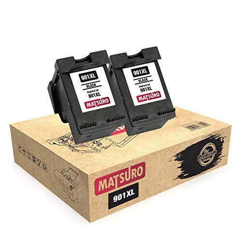 Matsuro Original | Kompatibel Remanufactured Tintenpatronen Ersatz für HP 901XL 901 (2 SCHWARZ)
