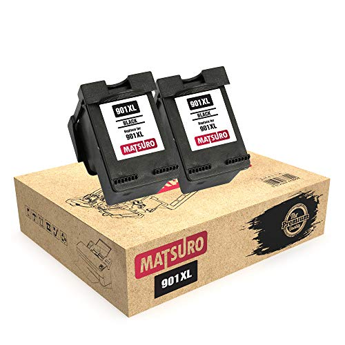 Matsuro Original | Compatible Remanufactured Cartuchos de Tinta Reemplazo para HP 901XL 901 (2 Negro)