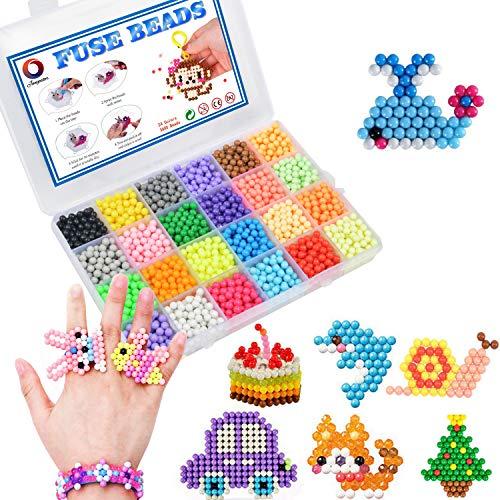 Jangostor 3600 Perline 24 Colori Perline di Ricarica Mega Giocattoli educativi per Bambini Pacchetto attività per Principianti