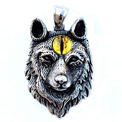 YANGFJcor Vikingo 3D Lobo Cabeza Colgante, Collar de Hebilla Anudada de Acero Inoxidable, Lobo Retro Logo Runa, Mitología Norse Label Amuleto, Estilo Unisex, Día del Padre Navidad Regalo,60cm