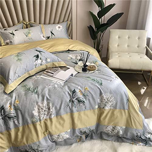 YWYU Style Pastoral 60 Lecho de algodón de Cuatro Piezas de algodón de Doble Trama de Doble Cadena con Estampado Digital Floral y Costura de la Esquina (Color : 1, Size : Queen Size 4pcs)