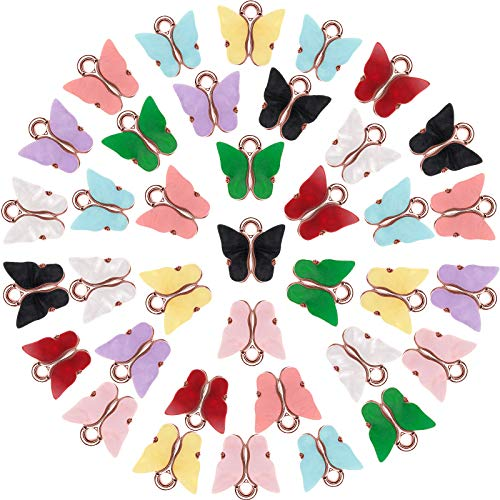 36 Pezzi Ciondoli di Farfalla Pendente di Farfalla in Acrilico Ciondoli a Forma di Farfalla Colorata per Orecchini Bracciali Collana Creazione di Gioielli Fai-da-Te (Oro Rosa)
