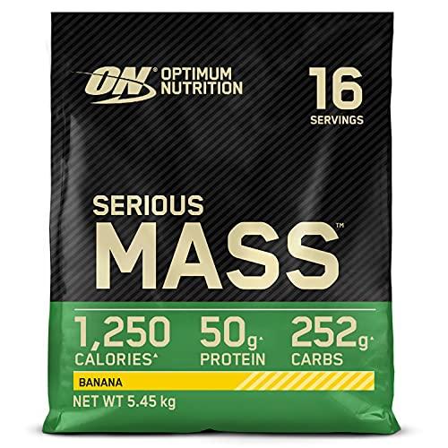 Optimum Nutrition Serious Mass Gainer, Proteine Whey in Polvere per Aumentare la Massa Muscolare con Creatina, Glutammina e Vitamine, Banana, 16 Porzioni, 5.45 kg, il Packaging Potrebbe Variare