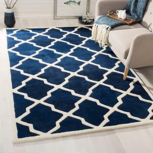 Safavieh Geometrisch gemusterter Teppich, CHT735, Handgetufteter Wolle, Dunkelblau/Elfenbein, 120 x 180 cm