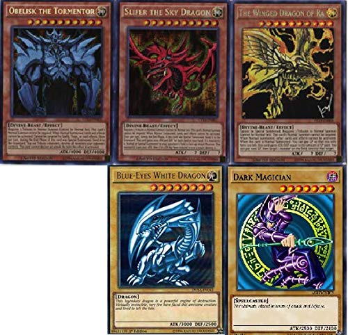Yu-Gi-Oh - 3 God Cards! Blue Eyes White Dragon! and Dark Magician 50 Card Lot! with Rare Cards Guaranteed