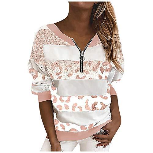 Camiseta de verano para mujer, camiseta básica de manga larga, diseño de rayas, estampado de leopardo, con cremallera, camiseta informal, cuello en V, opaca, túnica, camisa, blusa, Rosa., XL