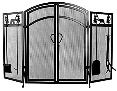 INNO STAGE 3-Panel Solid Fireplace Screen with 2 Doors and Fire Place Tools Sets - Extra Strength Wrought Iron Poker, Brush, Shovel and Firewood Tong Kit for Stove - Dark Black by Inno Stage
