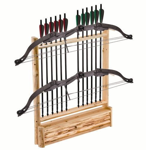 Rush Creek Creations Rustic 2 Compound Bow - 12 Arrow Wall Storage Rack with Accessory Compartment - Handcrafted - Durable Material , 39